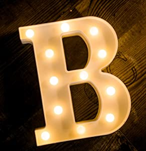 Foaky LED Letter Lights Sign 26 Alphabet Light Up Letters Sign for Night Light Wedding/Birthday Party Battery Powered Christmas Lamp Home Bar Decoration (B)