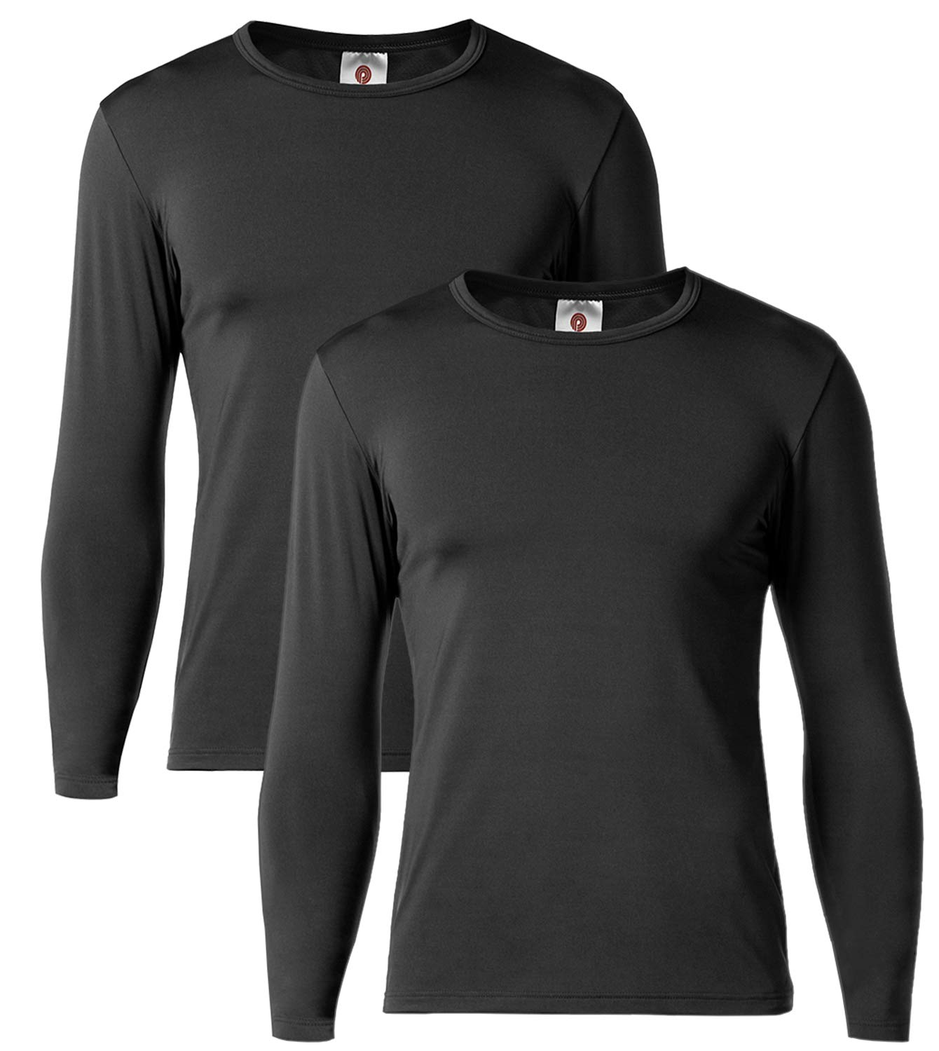 LAPASA Men's Thermal Underwear Tops Fleece Lined Base Layer Long Sleeve Shirts 2 Pack M55 (L Chest 41''-43'' Sleeve 23.6'', Midweight Black) by LAPASA