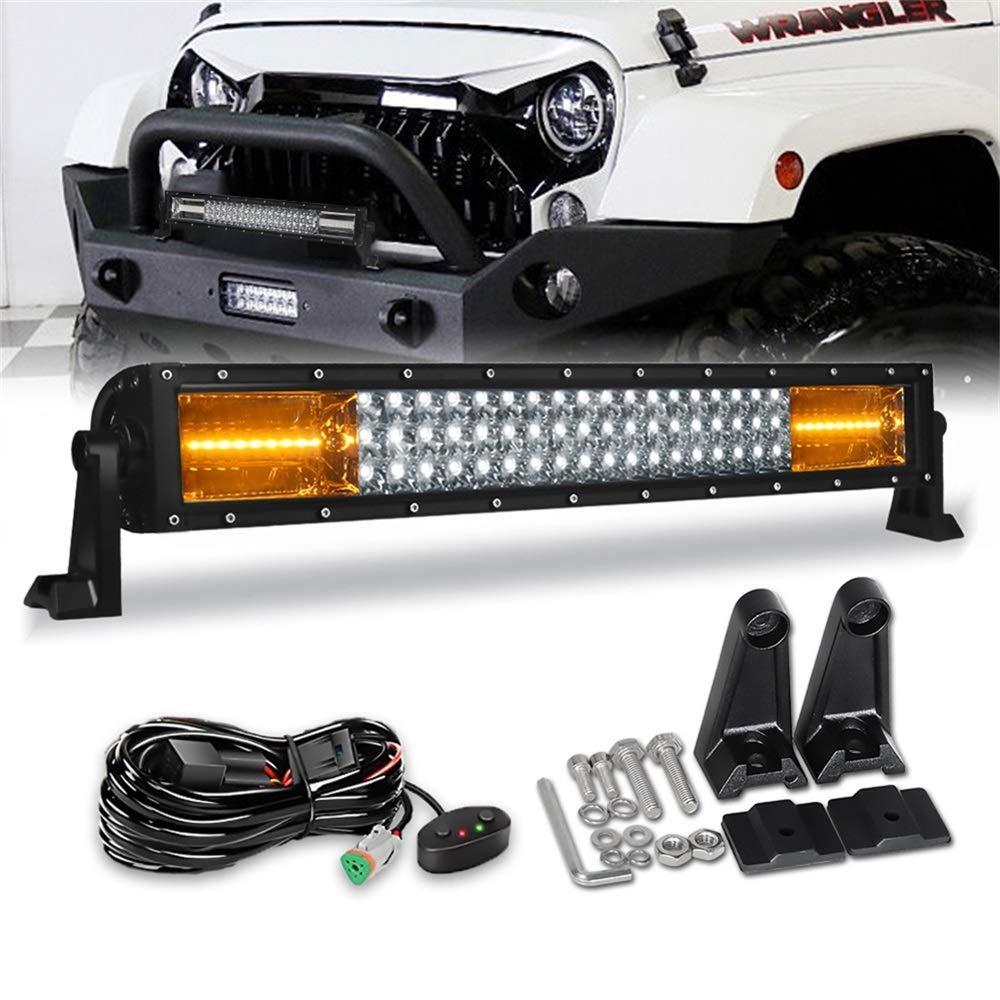 Hood Mounting Brackets for Jeep Wrangler 07-15 Racbox 100W 20 Inch Offroad LED Light Bar 6000K White Combo beam