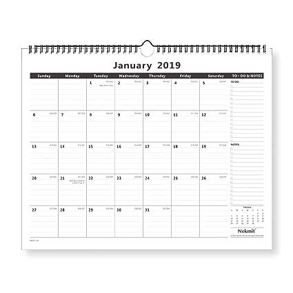 a40e5b832a6 Amazon.com : Nekmit Monthly Wall Calendar, January 2019 - December 2019,  15