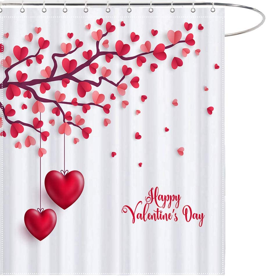 """Valentine/'s Day Love Hearts Tree Lover Waterproof Fabric Shower Curtain Set 72/"""""""
