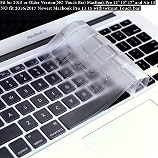 """DHZ Ultra Thin Transparent Keyboard Cover Soft TPU Skin for Only 2015 or Older Version MacBook Pro 13"""" 15"""" 17"""" and MacBook Air 13 (No Fit 2019-2016 New MacBook Air 13 Pro 13 15 Touch Bar) (Clear TPU)"""