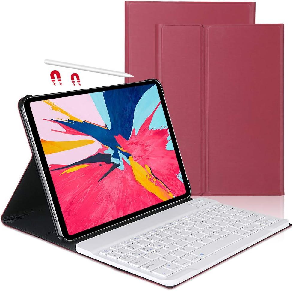 iPad Pro 11 Keyboard Case 2018-OYOSUOGG Detachable Slim Bluetooth Keyboard for iPad Pro 11 Inch 1st Generation-Protective Folio Stand Cover-Auto Sleep/Wake Smart iPad Pro 11 Case with Keyboard-Red
