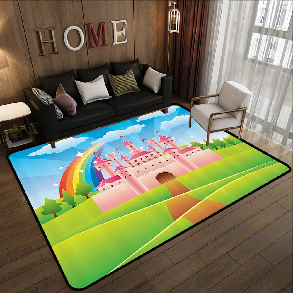 Pattern03 63\ Floor mat,Teen Girls Decor Collection,Cartoon Fairy Tale Castle Rainbow Clouds on Summer Sky colorful Illustration,bluee Green Pink 63 x 94  Indoor Outdoor Rubber Mat