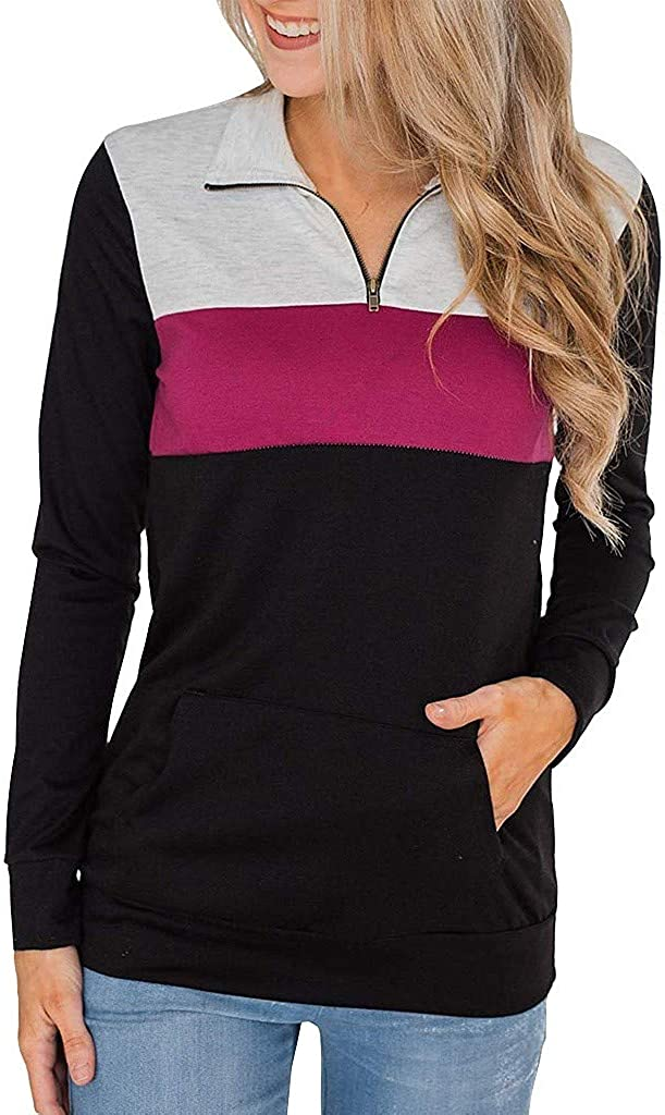 Womens Warm Pullovers Zip Neck Long Sleeve Elegant Female Sweatshirts Autumn Tops Patchwork Pocket