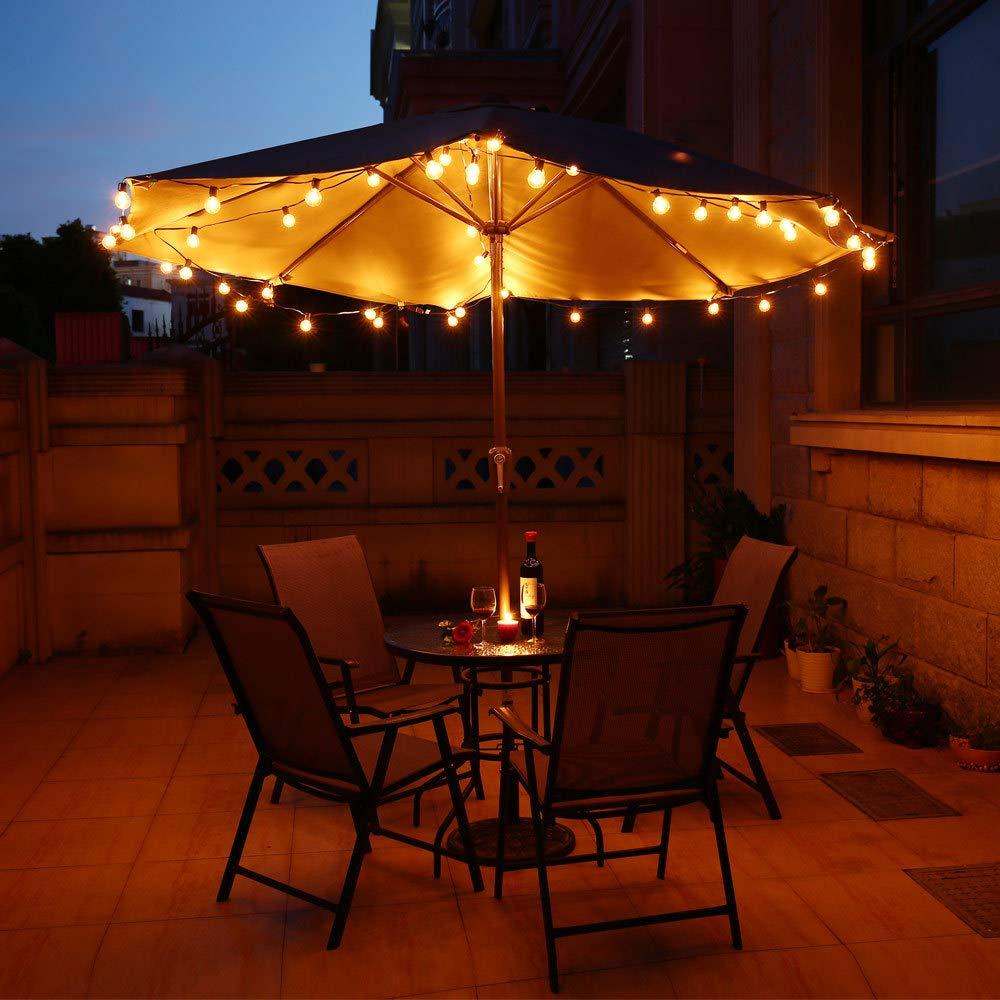 Lichterkette Au/ßen Qomolo Lichterkette Gl/ühbirnen G40 28er Birnen Garten Beleuchtung f/ür Innen und Drau/ßen mit Ersatzbirnen 9.5 Meter Warmwei/ß
