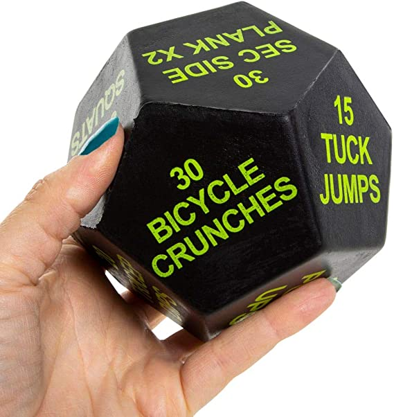 Workout Stuff Includes Squats Jumping Jacks and Sit Ups. Moms N Dumbbells Exercise Dice for Women Workout for Gym Crossfit Fitness Gift Workout for Home Fitness
