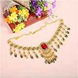 Lecent@ Heart Chain Belly Dance Necklace,Belly Dance Jewelry With Precious Stone