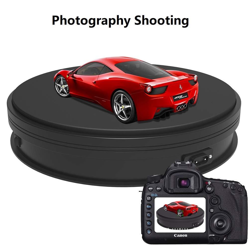 Noir laffichage du Produit Yuanj Platine tournante /électrique Professionnelle /à pour la Photographie capacit/é 15KG Plate-Forme renouvelable Automatique Parfaite pour Les Images /à 360 degr/és