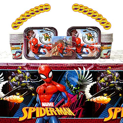(Spiderman Party Supplies Pack for 16 Guests: Stickers, Dessert Plates, Beverage Napkins, Table Cover, and Cups)