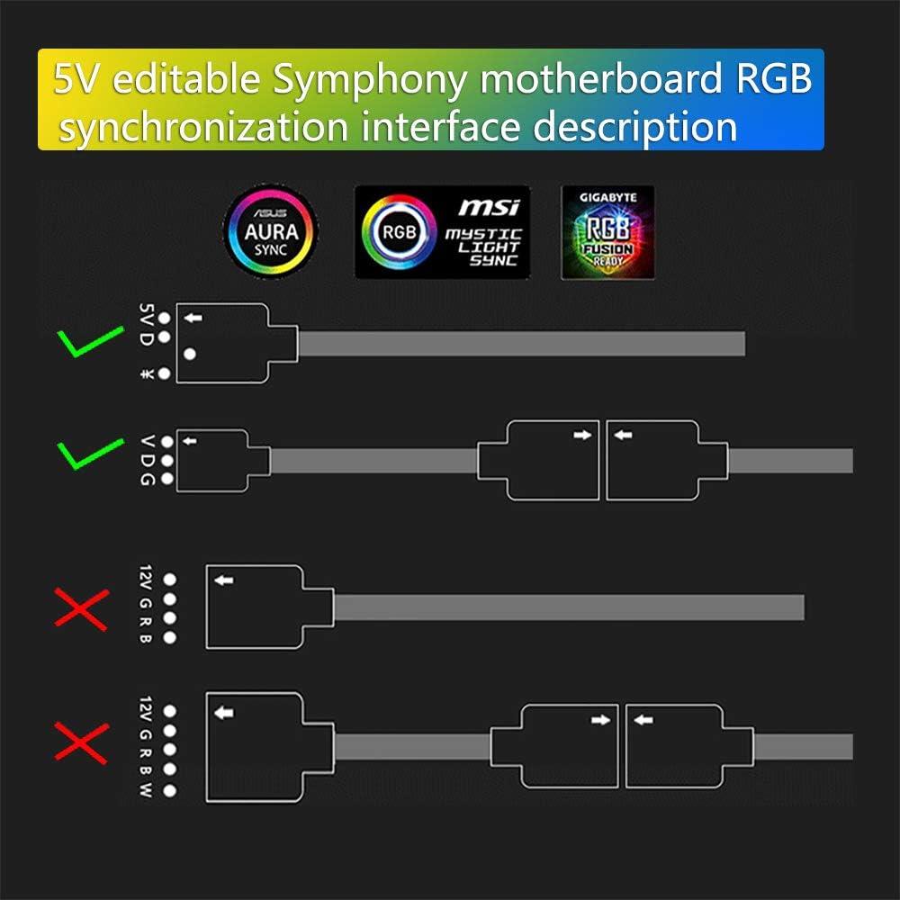 HAIMEN Argb-Controller f/ür PC-Geh/äuseleuchten SATA-Pin Tragbar f/ür 3-polige 5-V-Geh/äuse Kunststoff-LED-Beleuchtung Home ARGB-Controller