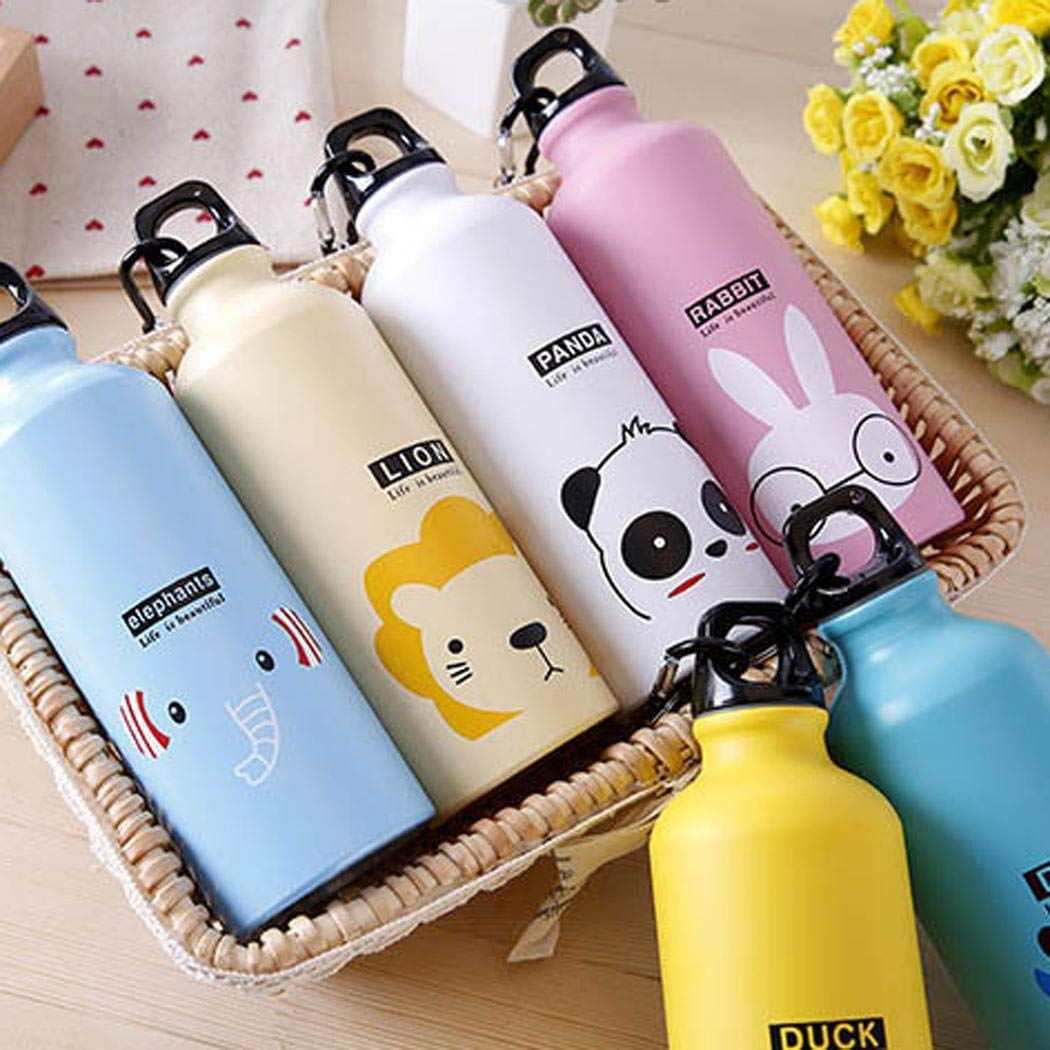 linselles 500mL Portable Sports Bottle Cute Cartoon Animal Pattern Aluminum Alloy Cup Water Bottle, Panda