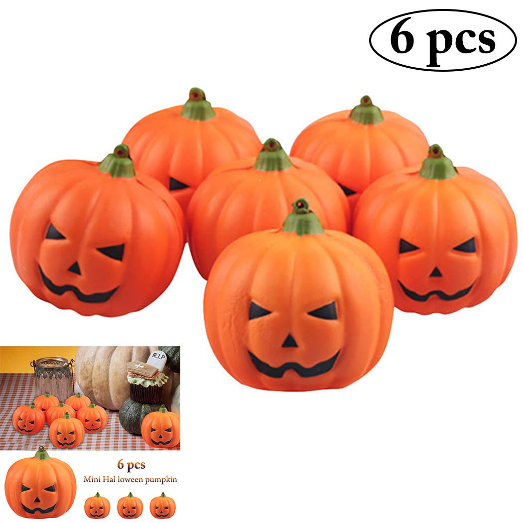 Outgeek 6PCS 2018 New Halloween Artificial Pumpkins Fake Simulation Realistic Props Garden Party Decoration Halloween Decoration DIY Halloween Decoration