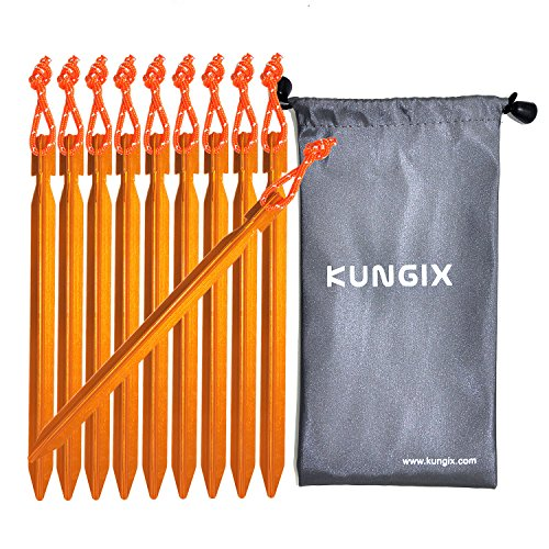 Kungix Tent Stakes Pegs 7 Aluminium Alloy with Reflective Rope 10-Piece (Golden)