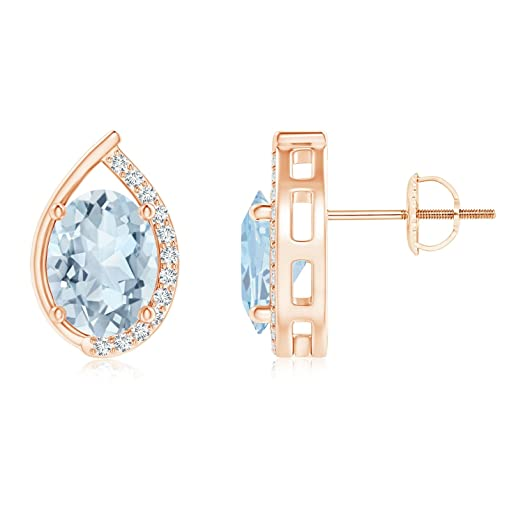 Angara Teardrop Framed Oval Sapphire Solitaire Earrings in 14K Rose Gold 2kO7FIFCX