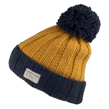 72489f09bf8ac4 Kusan Hats Bobble Turn Up Moss Hat - Mustard-Navy 1-Size: Amazon.co.uk:  Clothing