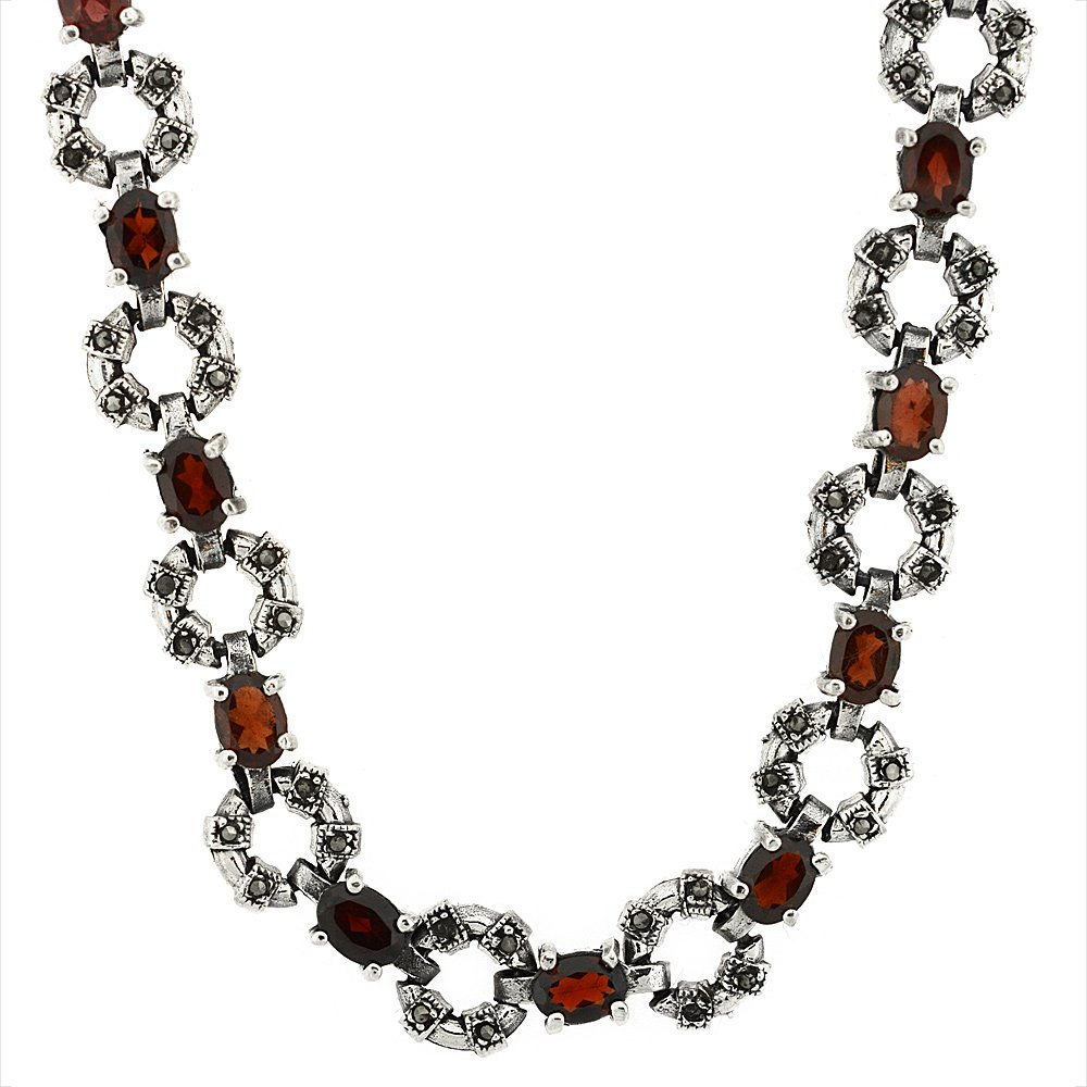 Sterling Silver Cubic Zirconia Garnet Donut Marcasite Necklace, 16 inch long