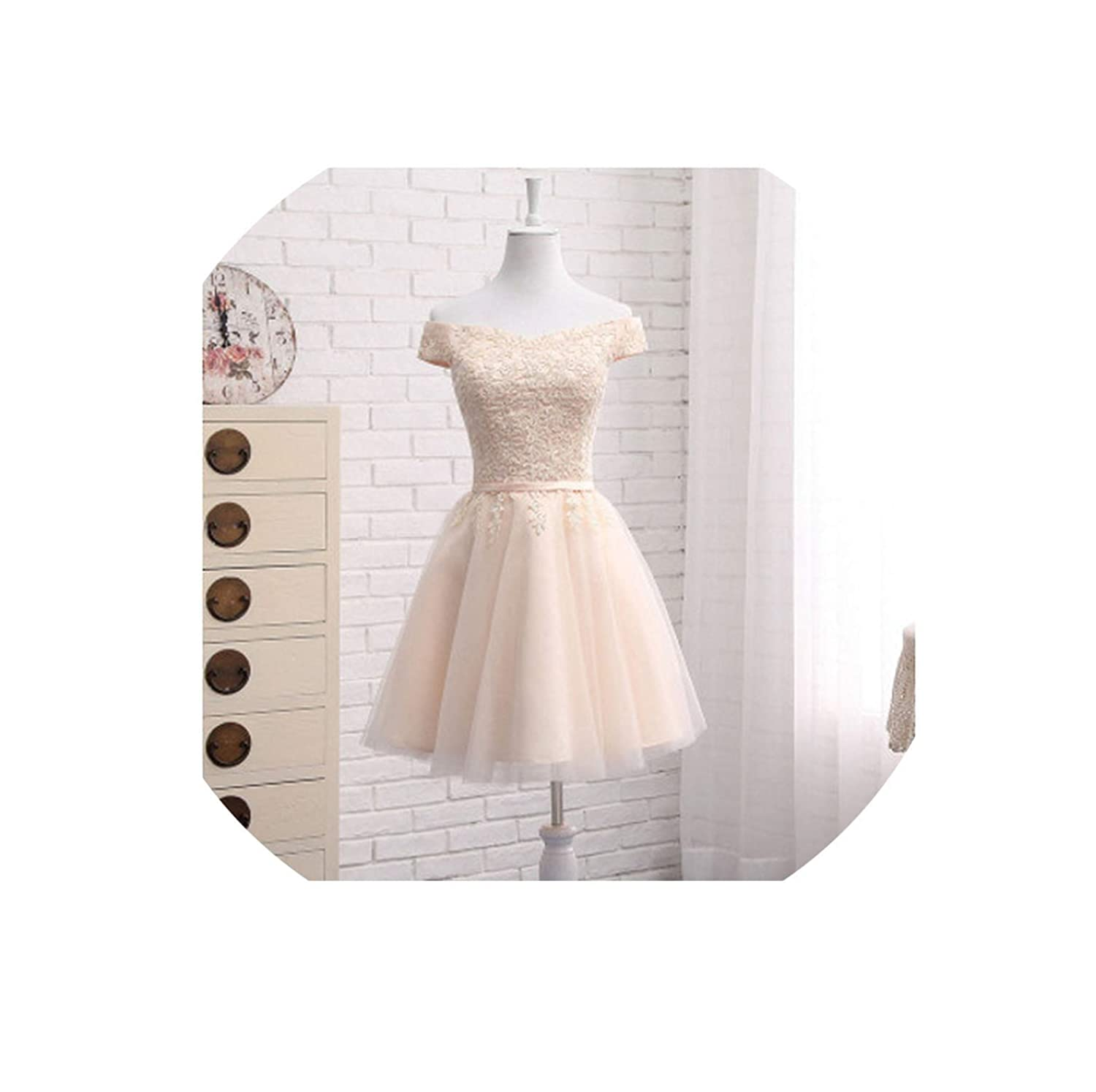 Champagne short Bridesmaid Dresses FloorLength Boat Neck Cap Sleeve Applique Embroidery Dress