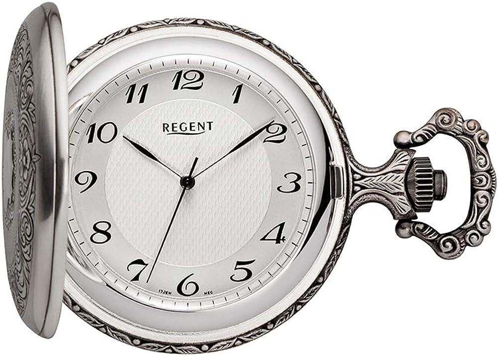 Regent Reloj de Bolsillo Antiguo Analog Mecanismo Plateado ennegrecido P de 191
