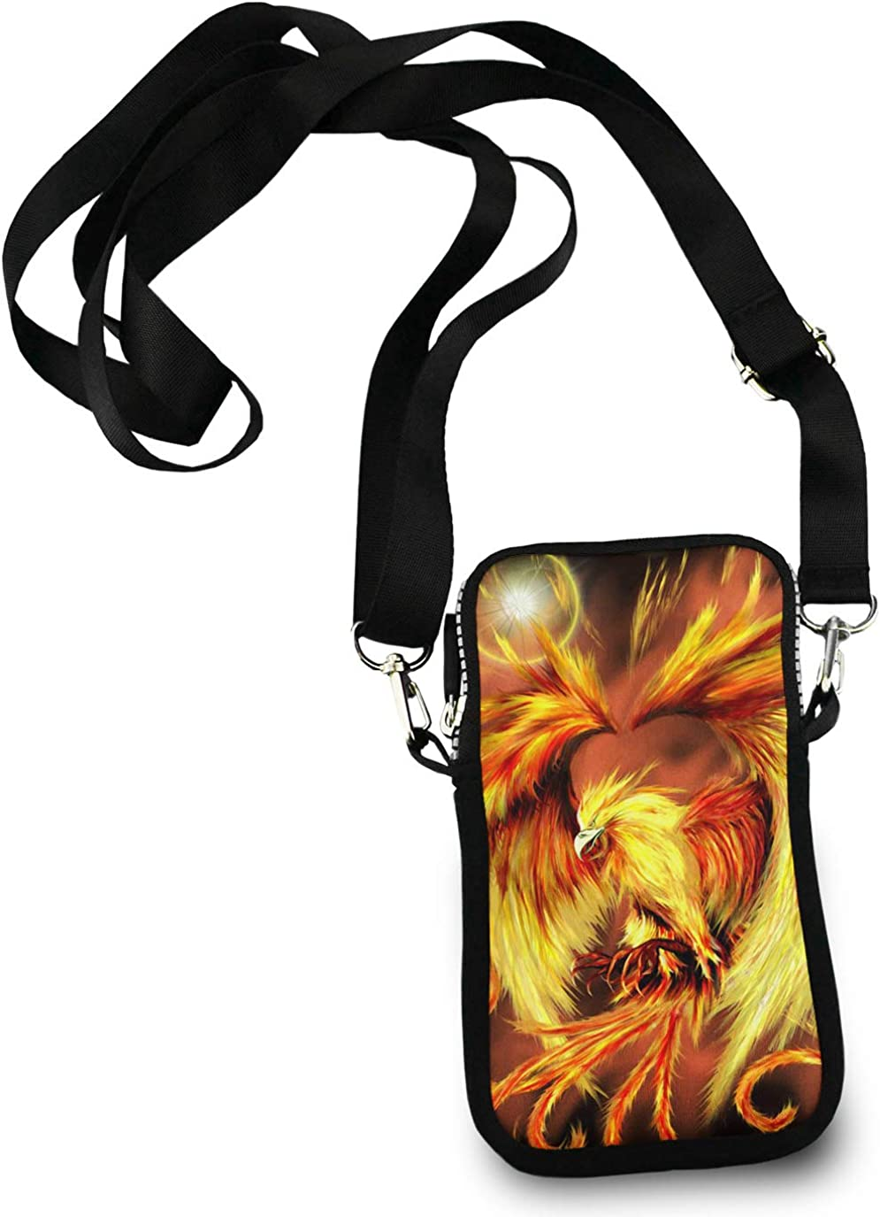 Casual Security Pack Crossbody Phone Pouch With Shoulder Strap Wallet Handbag fire flame Phoenix bird