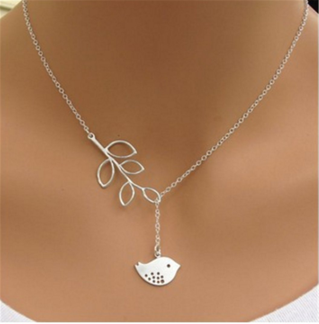 Simple Women Necklace Leaves Bird Short Women Jewelry Clavicle Chain