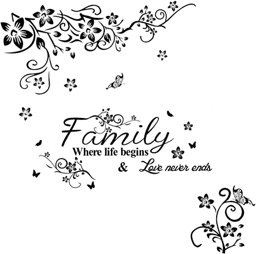 Family Quote Wall Sticker Art Decal Mural Paper Butterfly Vines Home Decor Fine
