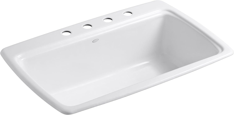KOHLER K-5863-4-0 Cape Dory Self-Rimming Kitchen Sink, White
