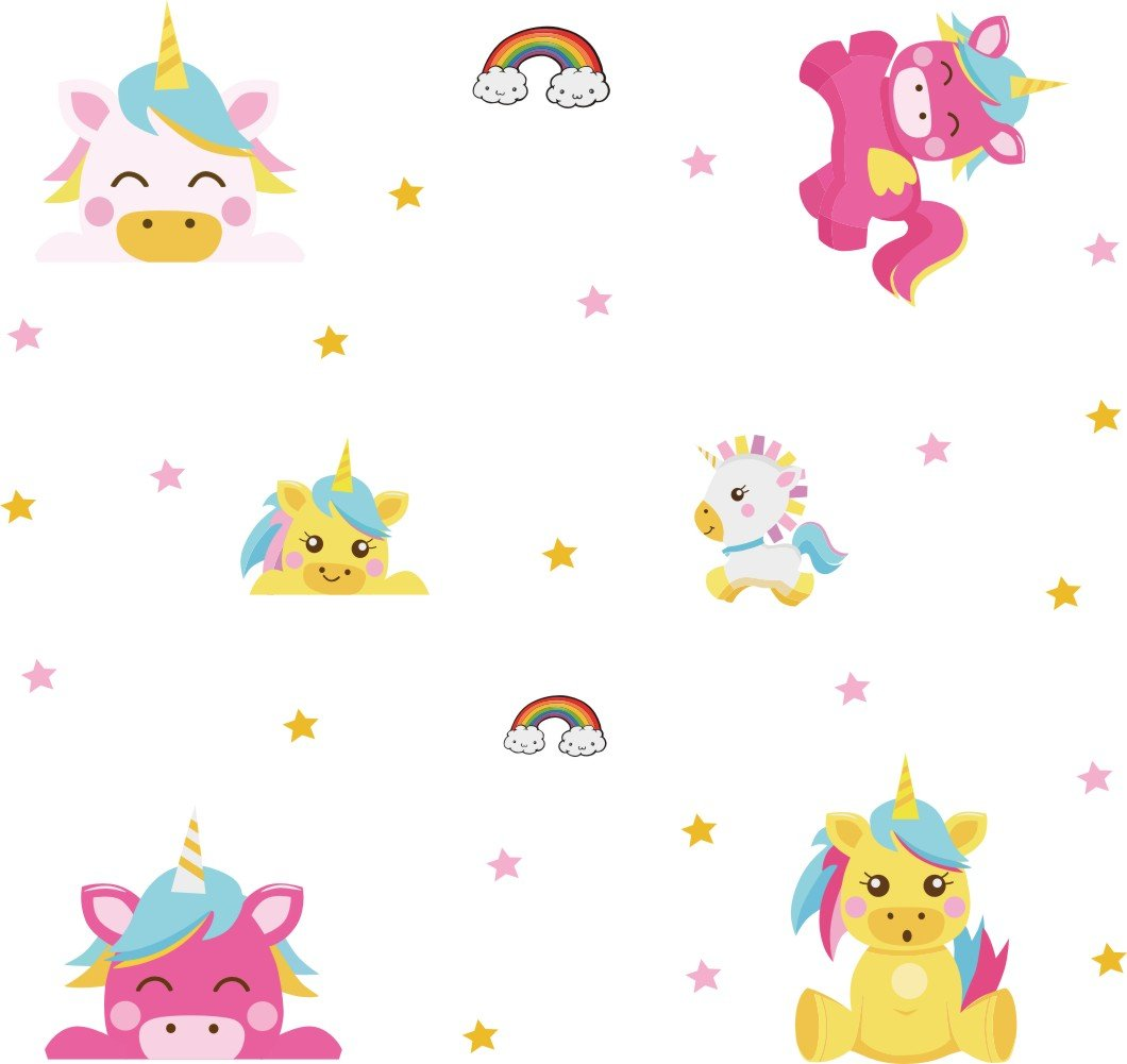 Arttop Unicorn Wall Sticker Baby Nursery Unicorn Wall Decal Rainbow Wall Stickers Star Wall Decal Nursery Wall Decor 3