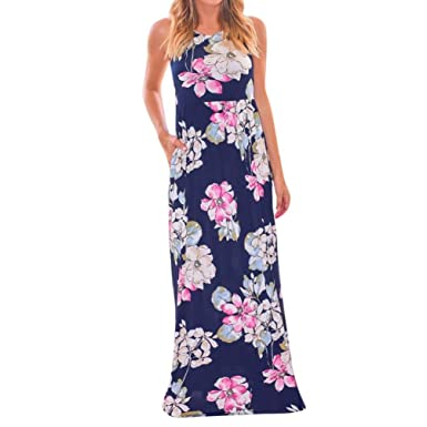 OYSOHE Women Summer Casual Sleeveless Print Long Loose Evening Party Dress Beach Dress: Amazon.co.uk: Clothing