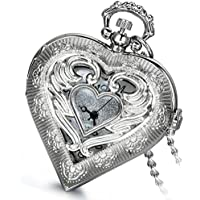 Lancardo Retro Silver Steampunk Heart Locket Shaped Hollow Pendant Pocket Watch Necklace for Lovers