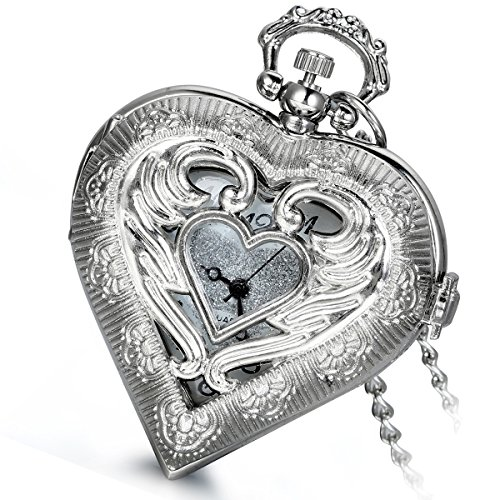 Lancardo Retro Silver Steampunk Heart Locket Shaped Hollow Pendant Pocket Watch Necklace for Lovers from Lancardo