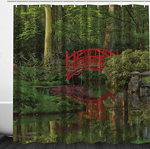 River Birch Leaves (Lake House Mansion Decorations by Ambesonne, Red Chinese Bridge in a Forest of Green Tree Leaves Reflection on River, Polyester Fabric Bathroom Shower Curtain Set with Hooks, Red Green Brown)