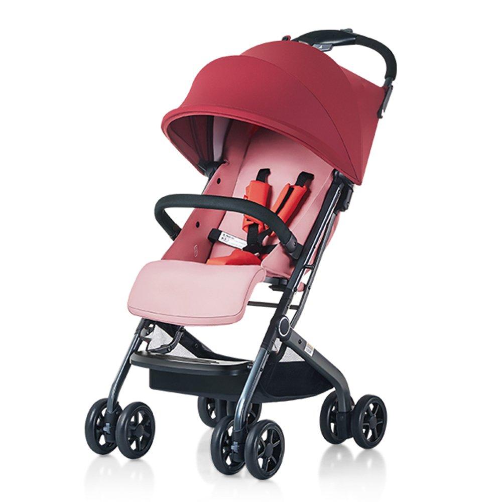 LVZAIXI バイク双子のベビーベビーカーは、赤ちゃんの子供のトロリーのサイズを倍にするために座ることができます双方向ショックの折り畳み横に横たわって環境保護材料 ( 色 : 赤 ) B07CG5QHBR赤