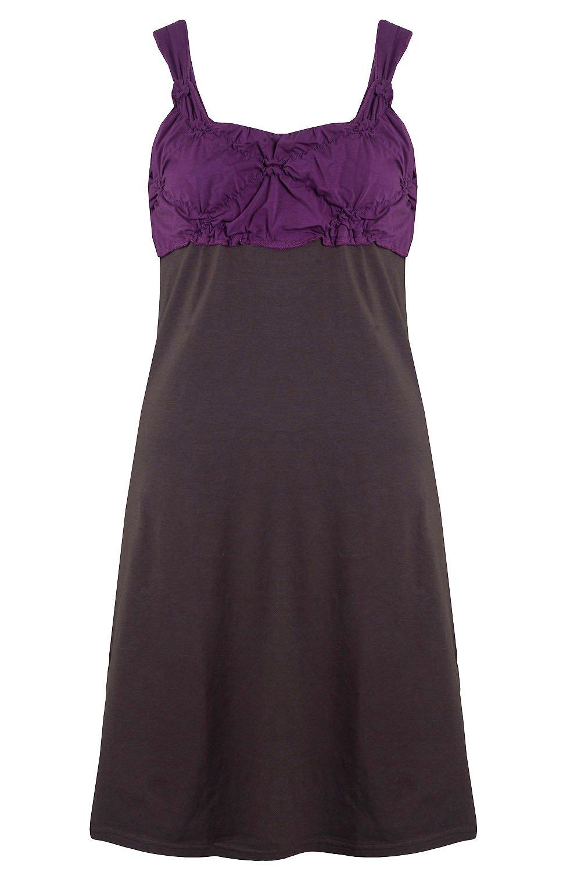 MELLOW PEACH Sommerkleid Partykleid Minikleid Glocken Lila L: Amazon ...