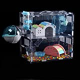 Aeon hum 透明なハムスターケージ ハムスターハウス 小動物ケージ 飼育ケージ 通気性抜群 組立式 内装 幅広い 持ち手付き (サイズ:30x20x30cm)