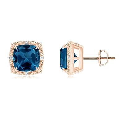 e473aaa77242 Amazon.com  Cushion London Blue Topaz Halo Stud Earrings in 14K Rose Gold  (7mm London Blue Topaz)  Jewelry