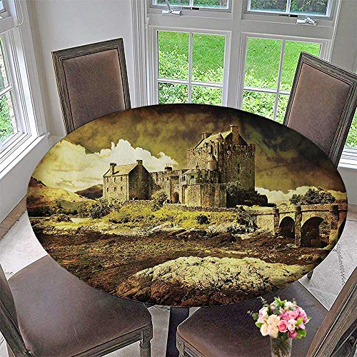 (The Round Table Cloth Mold Scottish Castle in Vintage Style European Middle Age Culture Heritage Town 35.5