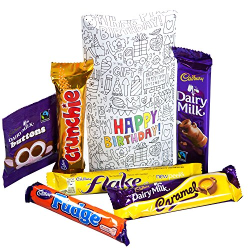 Cadbury Happy Birthday Pouch - By Moreton Gifts - Buttons, Flake, Crunchie, Dairy Milk, Caramel And Fudge Bars
