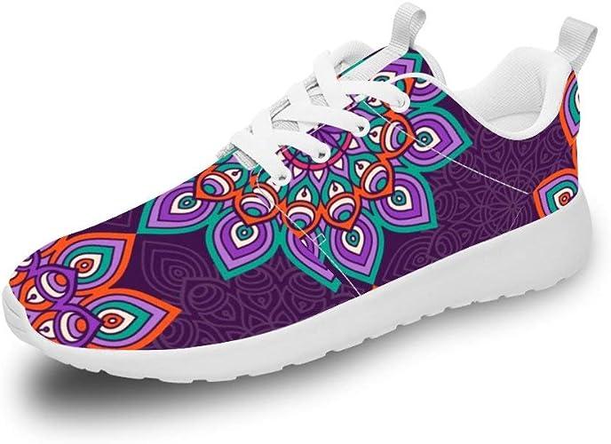 Mesllings Zapatillas de Running Unisex con diseño de Mandala ...