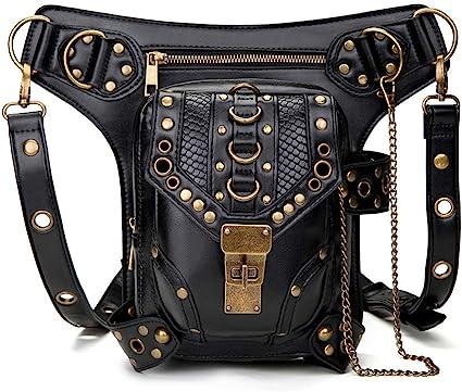 Leg Waist Bag Steampunk Pack Hip Belt Fanny Messenger Bag Multi-Functional Crossbody Phone Purse Handbag