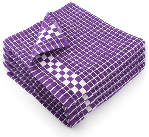 Fecido Classic Dark Kitchen Dish Towels with Hanging Loop - Heavy Duty Absorbent Dish Clothes - European Made 100% Cotton Tea Towels - Set of 4, Purple (Dish Purple Towels)