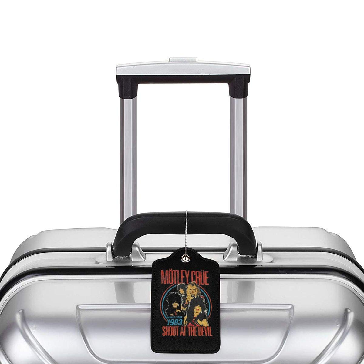 Motley Crue Vintage Shout At The Devil Leather Luggage Tag Travel ID Label For Baggage Suitcase