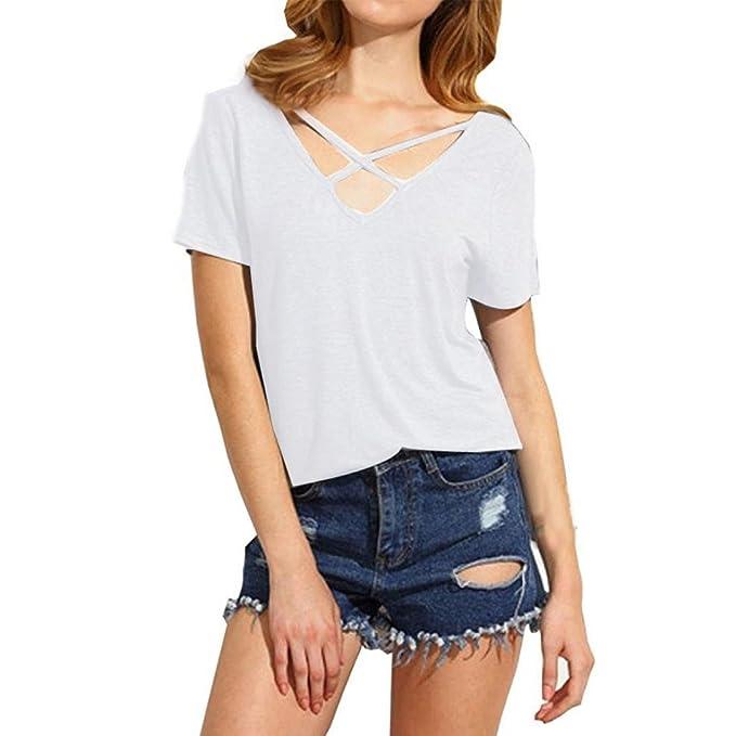 Mujeres blusa camiseta ropa, RETUROM Moda de las mujeres de verano Cruz frente Deep V