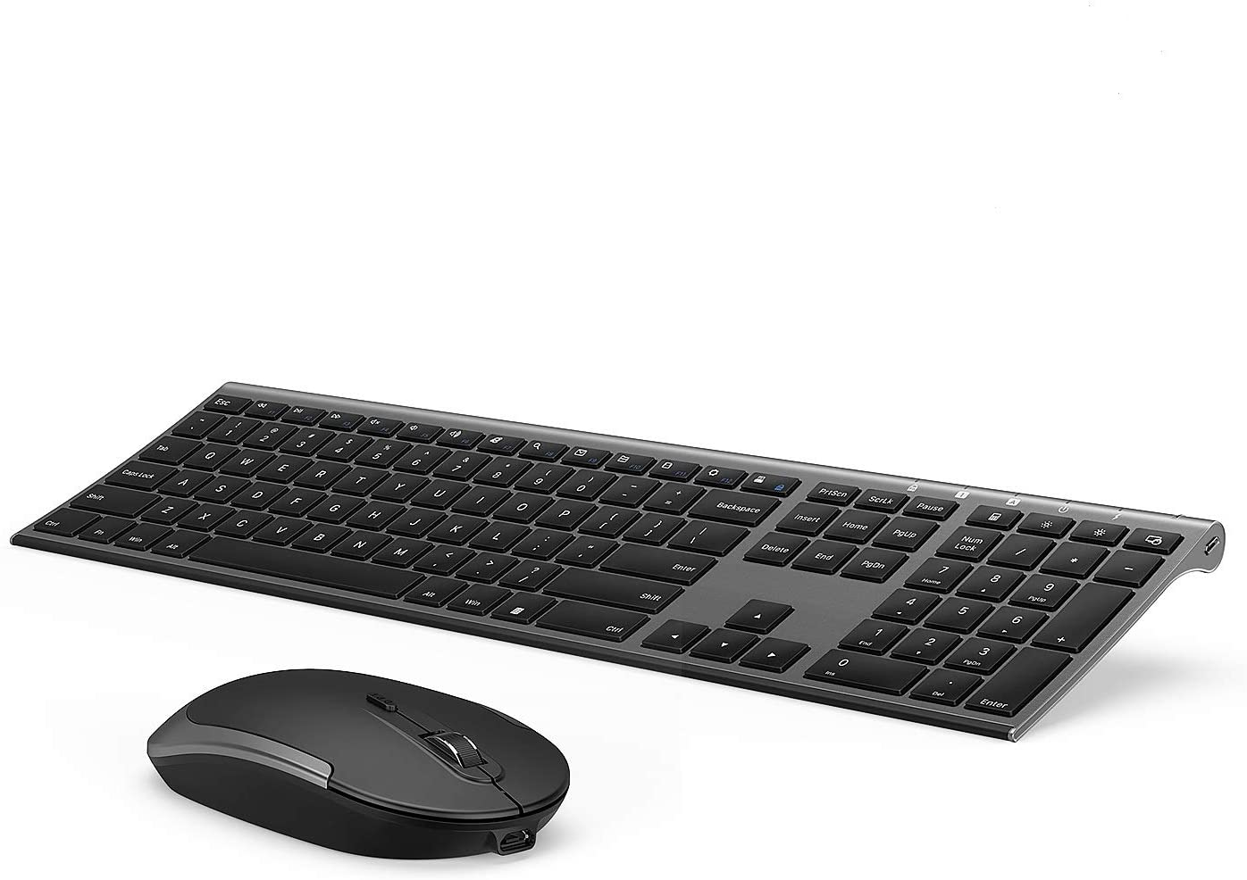 Whisper-Quiet,with Ergonomic Wrist Rest,Compatible with Windows and Chrome OS for Working and Gaming Wireless Keyboard and Mouse Combo Set Color : Black
