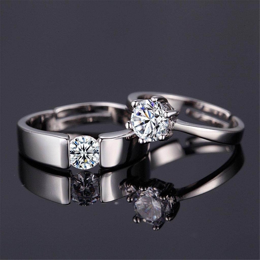 HMILYDYK - Set de anillos con solitario, chapados en platino con circonitas cúbicas, anillos de boda o compromiso: Amazon.es: Joyería