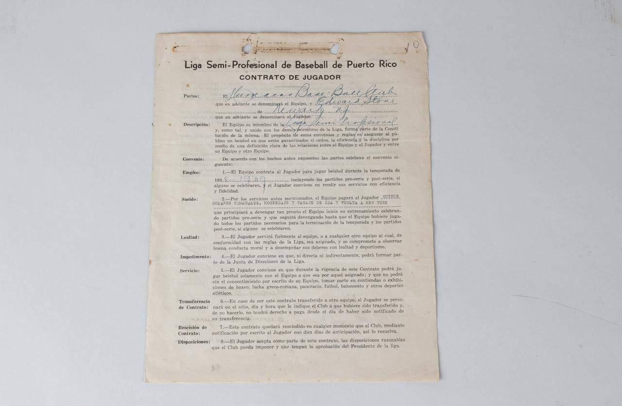 1938 Ed Stone Signed Contract – COA JSA