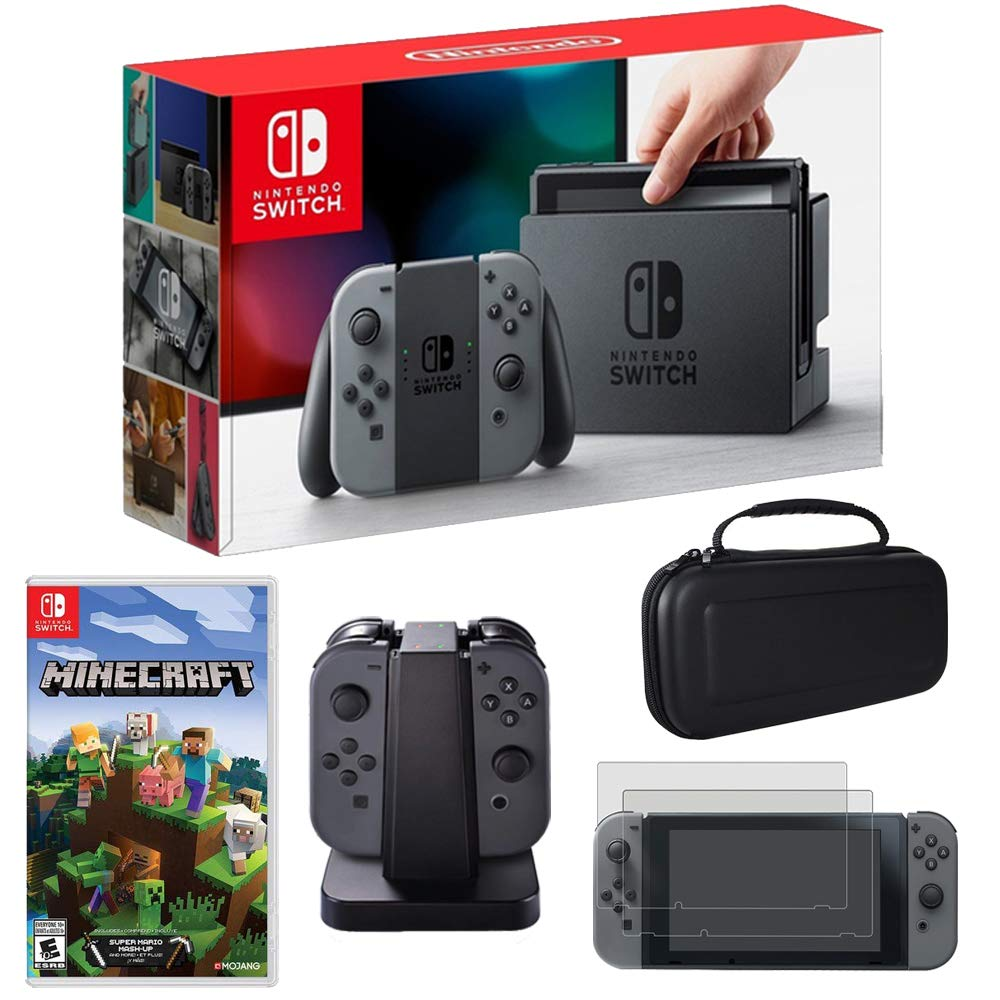 Nintendo Switch 32GB Console with Gray Joy Con & Minecraft for Switch + Charging Dock Kit