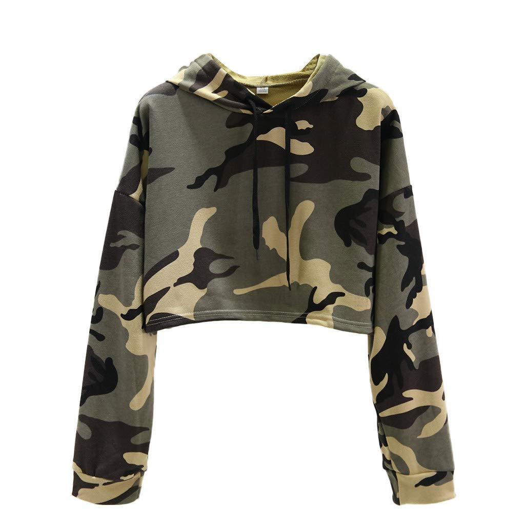 Sweatshirts for Women Camo, Women's Long Sleeve Casual Printed Sweatshirt Crop Top Hoodies Jumper Top (Khaki, L) by Jieou