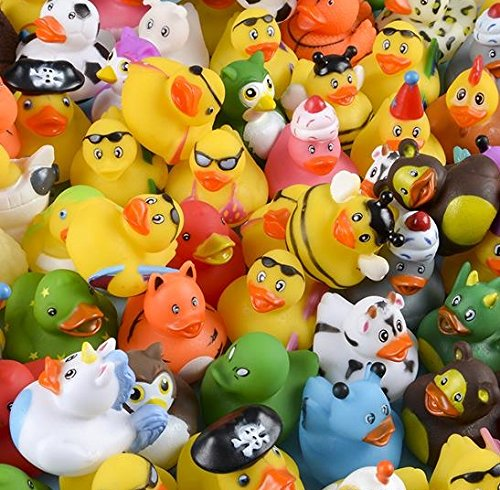 Rubber Duck Assortment for Happy Birthday Party, Baby Shower Games, Gift Bags, Bath Toys, Carnival, Variety Pack of 100