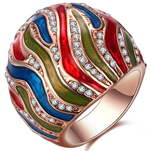 TEMEGO Large Statement Ring for Women,Blue Green Red Enamel Small Cubiz Circonia Rose Gold Cocktail Ring